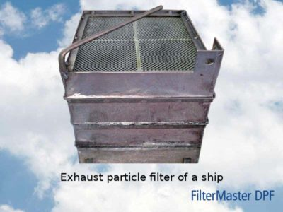 Exhaust particle filter of a ship after cleaning with FilterMaster