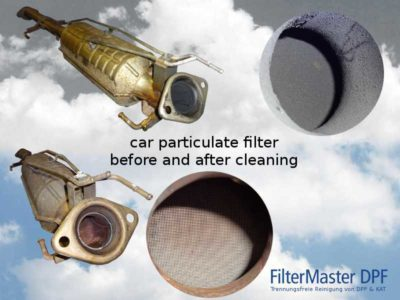Car particulate filter Mazda before and after cleaning with FilterMaster | Exterior view and view of the filter ceramic