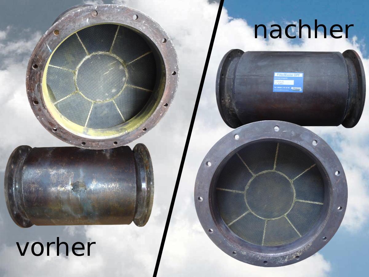 Partikelfilter von Schiff vor und nach der Reinigung
