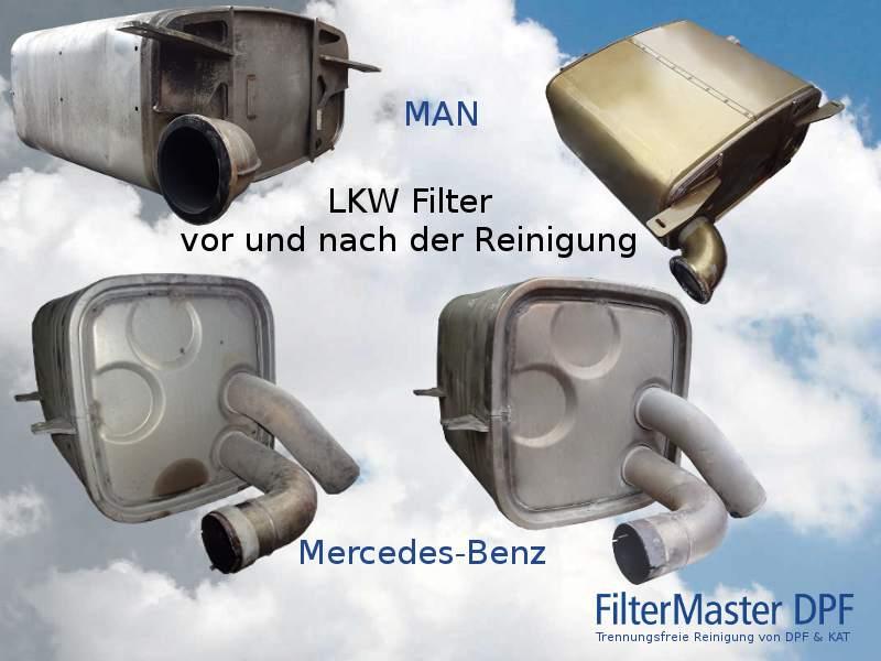 Abgaspartikelfilter von MAN und Mercedes-Benz Lkw