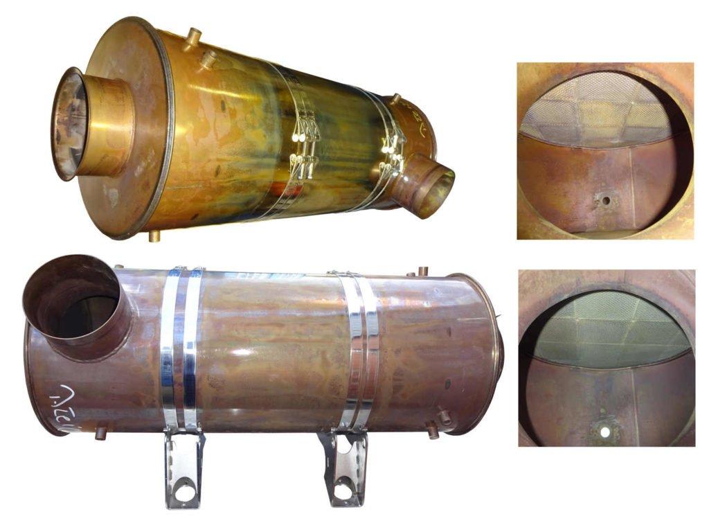 Abgaspartikelfilter einer Lokomotive vor und nach der Reinigung