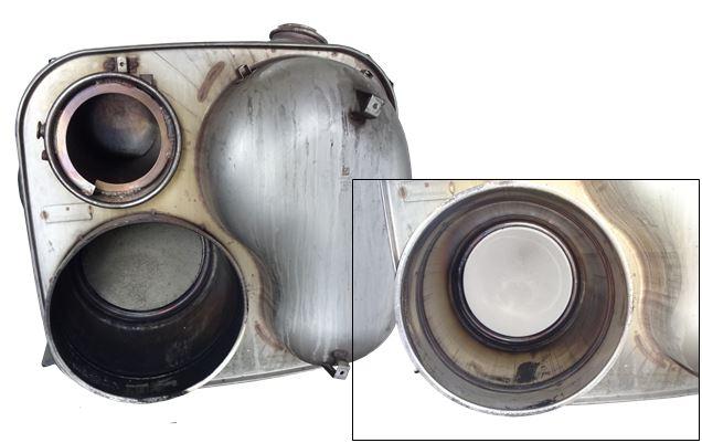 MAN TGX EURO 6 Partikelfilter links vor der Reinigung, rechts nach der Reinigung