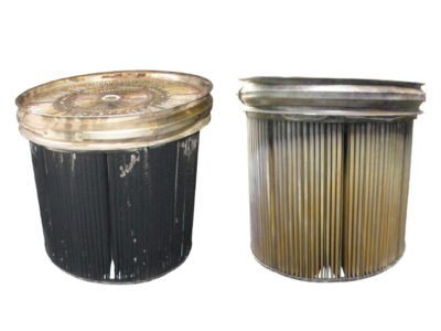 Sintermetallfilter vor und nach der Reinigung mit FilterMaster for trucks and more